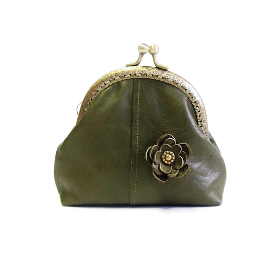 Genuine leather  frame coin purse in olive green color