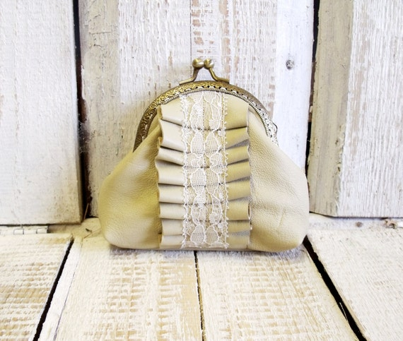 Genuine leather laced frame coin purse in butter yellow color