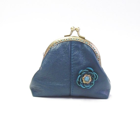 Turquoise genuine leather  frame coin purse with leather flower
