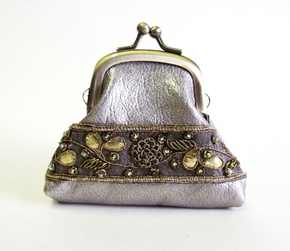 Leather coin purse silver leather frame purse