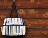 Blue striped Diaper Bag / Shoulder Bag / Everyday Bag / Tote- Ready to Ship