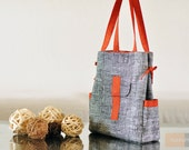 Diaper Bag / Everyday canvas Bag - Black & White with Orange Accent