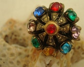 Vintage Repurposed Rhinestone Adjustable Ring Multi Color Medieval Style Free Shipping