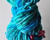 Chunky Handspun Yarn,Thick and Thin, Handdyed Merino Single Ply, Wool