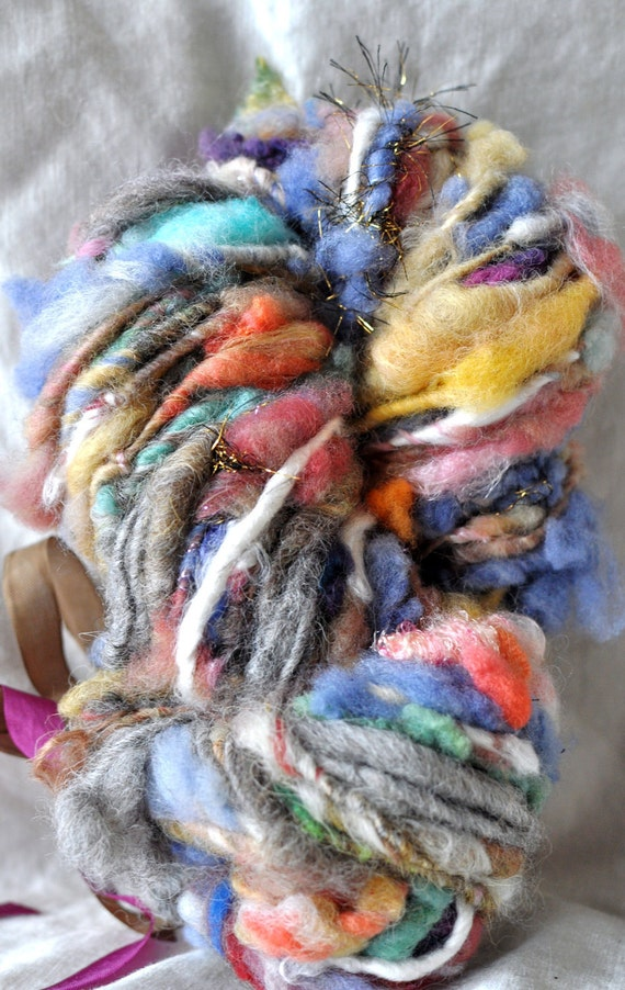 Wholesale Art Yarn, 20 Ultra Bulky Skeins, Handspun Wool, Large Order, Thick, Embellished, Novelty Yarn