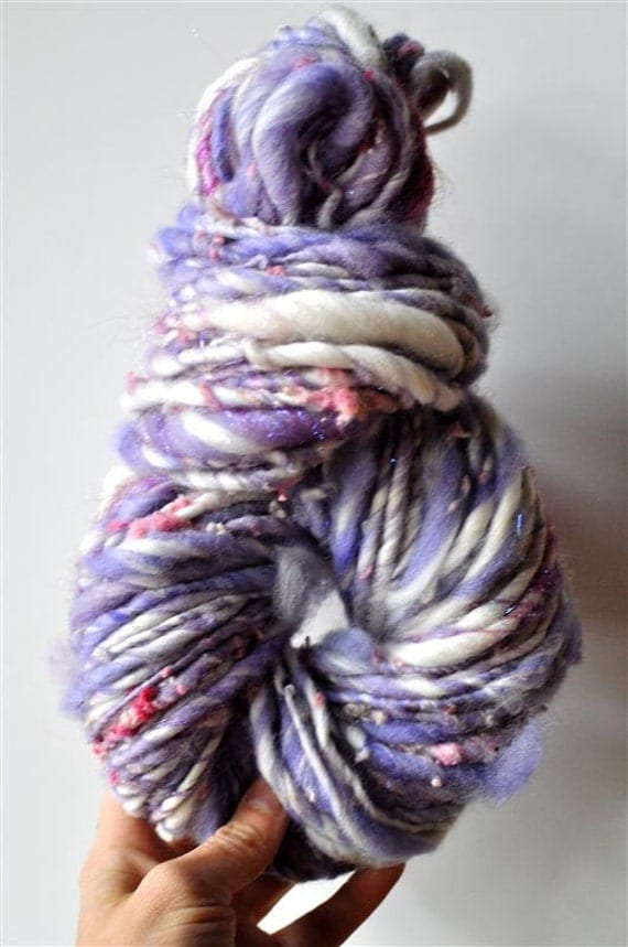 Bulky Handspun Yarn,Thick and Thin, Handdyed Fleece, Single Ply, Merino Wool