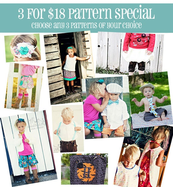 3 for 18 SPECIAL Choose ANY 3 PDF Sewing Patterns for 18 Dollars