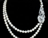 Bridal Pearl Rhinestone Necklace Two Strand Wedding Jewelry Crystal Feather CAMILLE Collection White or Ivory NK004LX