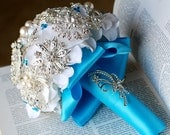 Vintage Bridal Brooch Bouquet - Pearl Rhinestone Crystal - Silver Turqoise  Aqua Blue White -One Day RUSH ORDER Available - BB010LX