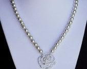 Bridal Pearl Rhinestone Necklace Rose Crystal Wedding Jewelry NK025LX