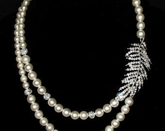 Bridal Pearl Rhinestone Necklace Two Strand Wedding Jewelry Crystal Feather KLYARA Collection US NK005LX