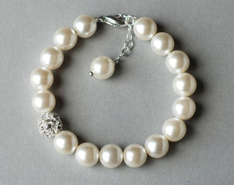 SALE Bridal Pearl Rhinestone Bracelet Crystal Wedding Jewelry White or Ivory BL007LX