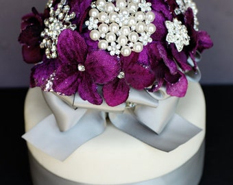 Vintage Bridal Brooch Bouquet Wedding Cake Topper - Pearl Rhinestone Crystal - Silver Purple Grey CT002LX