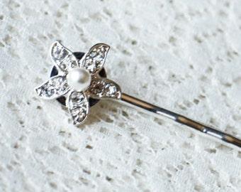 Rhinestone Bridal Hair Pin Starfish Wedding Jewelry Pearl Crystal Bridal Hairpin Clip HP032LX
