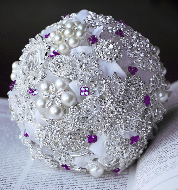 Vintage Bridal Brooch Bouquet Pearl Rhinestone Crystal Silver Amethyst Purple White One Day RUSH ORDER Available BB006LX