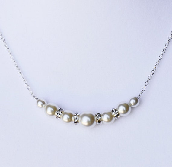 Bridal Rhinestone Pearl Necklace with Sterling Silver Chain Simple Wedding Crystal Jewelry White Or Ivory NK023LX