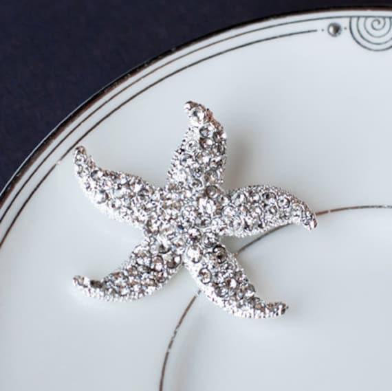 SALE Rhinestone Bridal Brooch Pin Crystal Starfish Brooch Pin Beach Wedding Jewelry BR001LX