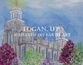Watercolor print ,Logan, Utah Temple-11x14
