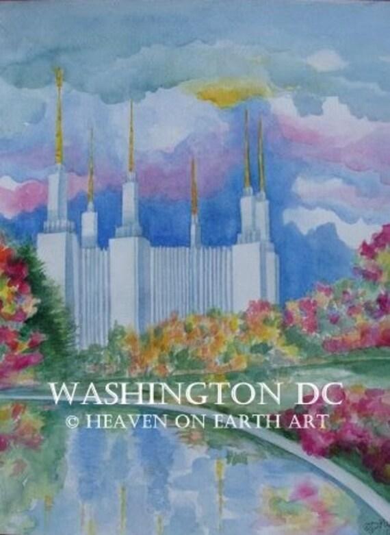 Watercolor print, Washington D.C. temple-11x14