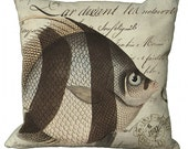 Striped Fish on French Document Pillow Cover
