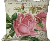 Pink Roses on a French Document Choice of 14x14 16x16 18x18 20x20 22x22 24x24 26x26 inch Pillow Cover