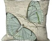 Pale Seafoam Aqua Butterfly in Choice of 14x14 16x16 18x18 20x20 22x22 24x24 26x26 inch Pillow Cover