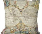 Antique World Map Image  in Choice of 14x14 16x16 18x18 20x20 22x22 24x24 26x26 inch Pillow Cover