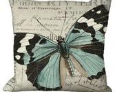 Black White & Aqua Butterfly in Choice of 14x14 16x16 18x18 20x20 22x22 24x24 26x26 inch Pillow Cover