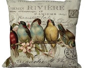 Birds in a Row on invoice  in Choice of 14x14 16x16 18x18 20x20 22x22 24x24 26x26 12x18 13x20 16x24 inch Pillow Cover
