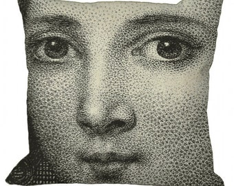 Woman's Face Antique Image 14x14 16x16 18x18 20x20 22x22 24x24 26x26 inch Pillow Cover