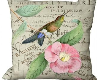 Hummingbird on Pink Blossom Choice of 14x14 16x16 18x18 20x20 22x22 24x24 26x26 inch Pillow Cover