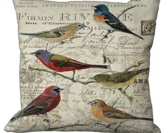 Birds of a Feather in Choice of 14x14 16x16 18x18 20x20 22x22 24x24 26x26 inch Pillow Cover