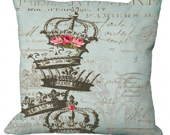 Aqua Crown Tower & Pink Roses on French Document Choice of 14x14 16x16 18x18 20x20 22x22 24x24 26x26 inch Pillow Cover