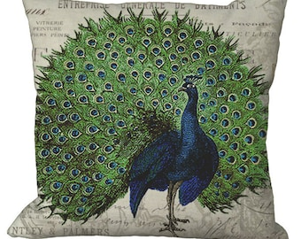 Strutting Peacock on invoice in Choice of 14x14 16x16 18x18 20x20 22x22 24x24 26x26 inch Pillow Cover