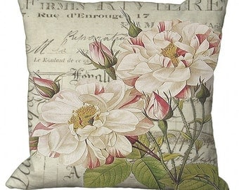 Wild Roses on French Invoice Choice of 14x14 16x16 18x18 20x20 22x22 24x24 26x26 inch Pillow Cover