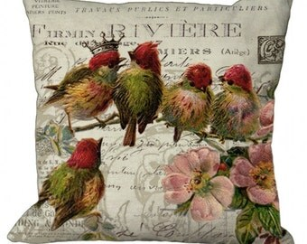 Red Crowned Babbling Birds on French invoice in Choice of 14x14 16x16 18x18 20x20 22x22 24x24 26x26 inch Pillow Cover