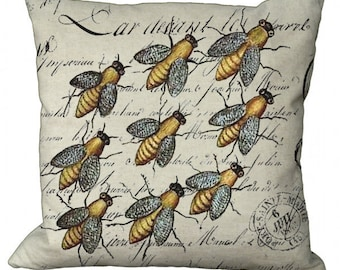 Bees on French Script in Choice of 14x14 16x16 18x18 20x20 22x22 24x24 26x26 inch Pillow Cover