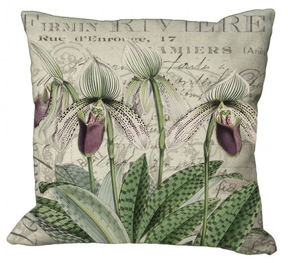 Exotic Orchids on a French Document Background in Choice of 14x14 16x16 18x18 20x20 22x22 24x24 26x26 inch Pillow Cover