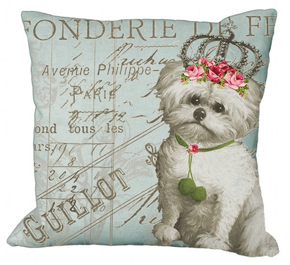 Aqua Backround Maltese Pink Roses on French Document in Choice of 14x14 16x16 18x18 20x20 22x22 24x24 26x26 inch Pillow Cover
