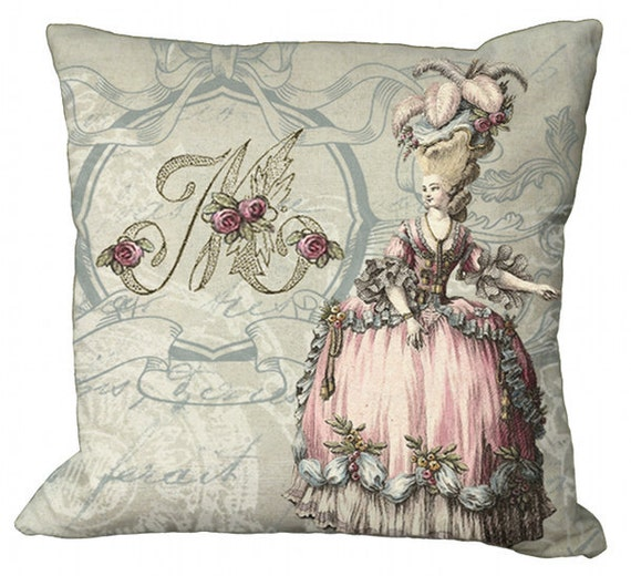 Marie Antoinette Pink Monogram  in Choice of 14x14 16x16 18x18 20x20 22x22 24x24 26x26 inch Pillow Cover
