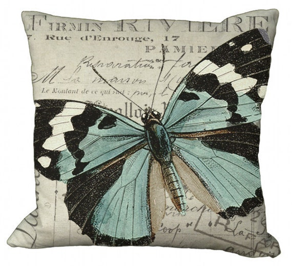 Black White & Aqua Butterfly in Choice of 14x14 16x16 18x18 20x20 22x22 24x24 26x26 inch Pillow Cover