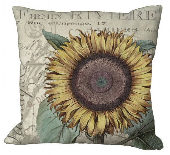 Sunflower on a Document Background in Choice of 14x14 16x16 18x18 20x20 22x22 24x24 26x26 inch Pillow Cover