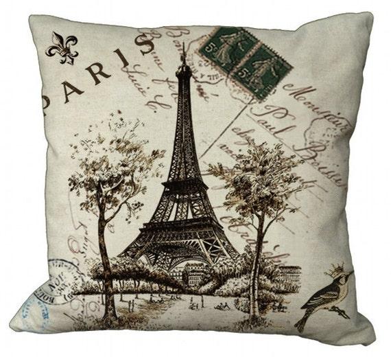Paris Eiffel Tower Postcard Choice of 14x14 16x16 18x18 20x20 22x22 24x24 26x26 inch Pillow Cover