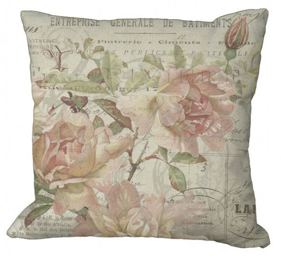 Faded Roses on a French Document in Choice of 14x14 16x16 18x18 20x20 22x22 24x24 26x26 inch Pillow Cover
