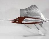 Metal and Wood Sailfish Sculpture ... Last One with Metal Base and Metal Eye