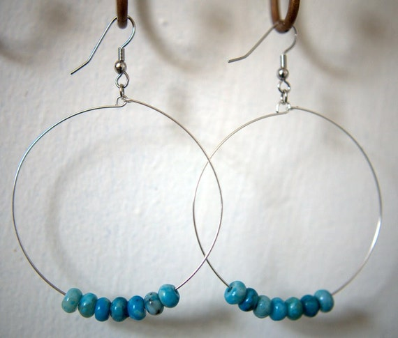 Large Turquoise Hoops