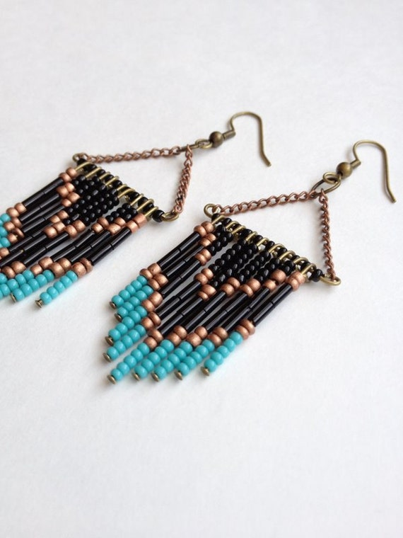 Black Beaded Chevron Earrings