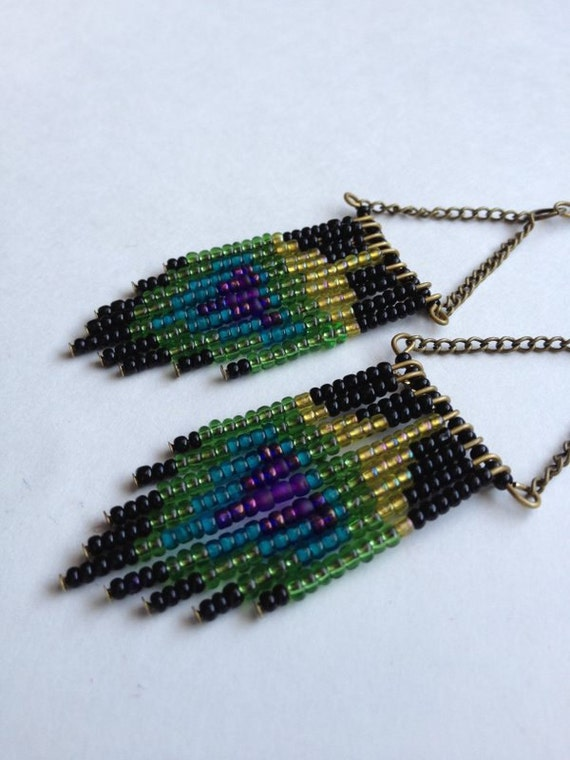 Black Beaded Peacock Feather Earrings (bronze)