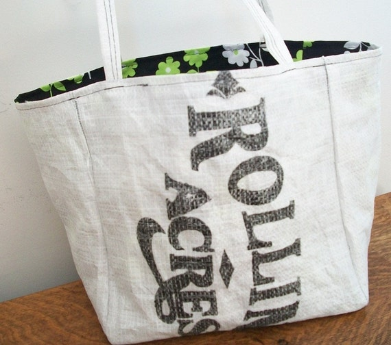 re-usable market bag, fully lined, black and white,