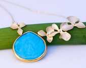 Turquoise Necklace - December Birthstone Necklace - Orchid Flower Necklace - Gemstone Necklace - Gold Necklace - Nature Inspired Jewelry